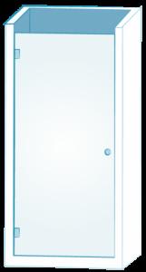 Einflügel Glastüre für Nischendusche